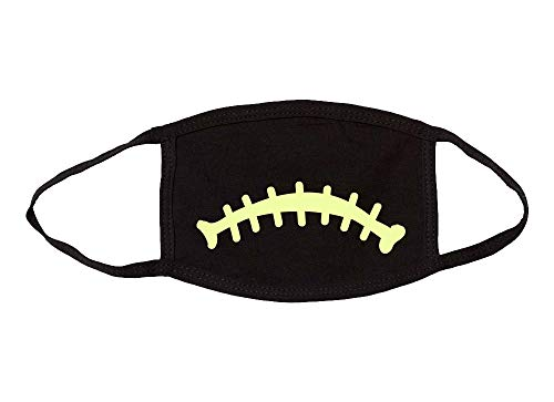 Halloween Glow in The Dark Jack-O-Lantern Sad Stitched Mouth Mask Cotton Face Cover Mask-M/L