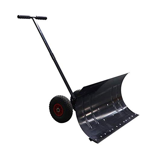 New Rolling Snow Pusher Manual Snow Shovel Push Plow with 2 Wheels and Extension Steel Handle Suitab...