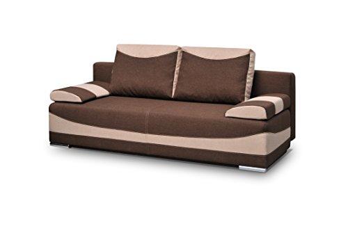 mb-moebel Couch mit Schlaffunktion Sofa Schlafsofa Wohnzimmercouch Bettsofa Ausziehbar - Pablo (Braun)