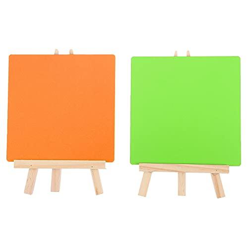 STOBOK 2 Piezas de Caballete de Mesa con Juegos de Lienzo Arte de Madera Pintura Caballete Soporte Escritorio Mini Pizarras Signos de Doble Tablero de Mensajes para Tarjetas de