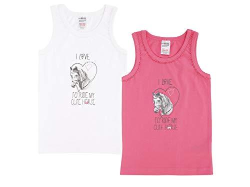 Jacky Jacky Mädchen Unterhemden, 2er-Pack, Größe: 86/92, Alter: 1-1,5 Jahre, Pink/Weiß, 770040