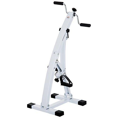 homcom Cyclette Elettrica Compatto Altezza Regolabile in 6 Livelli Resistenza Regolabile Display LCD Acciaio, PP, Eva Bianco 41×50×96cm