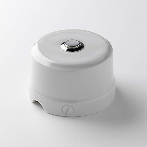 Klartext BELLE EPOQUE - Botón a presión (48 V, porcelana, acabado brillante), diseño vintage, color blanco