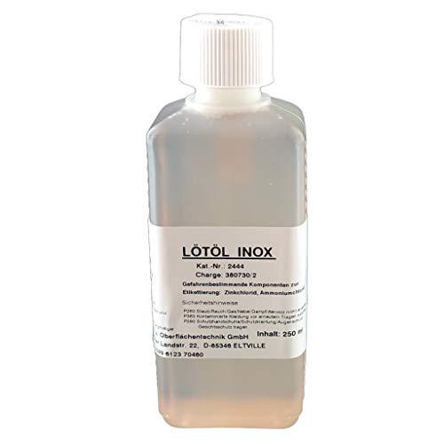 Flussmittel/Lötöl INOX 250 ml -ca. 500 g-, Konventionelles Weichlöten von Edelstahl, Eisen-, Kupfer- und Messingwerkstoffen, mit extrem hoher Wärmestabilität und herausragenden Löteigenschaften