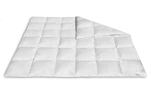 VitaloBett Ganzjahresdecke Daunendecke medium – Daunenbettdecke 1300g, 100% canadische Daunen Decke, Steppdecke Wärmeklasse 3, Schlafdecke 4 Jahreszeiten Bettdecke 200 x 200 cm