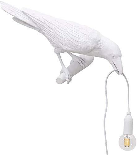 Lámpara De Mesa De Pájaro Lámpara De Pared Creativa Lámpara De Pared LED Lámpara De Pared De Cuervo De Cabecera De Dormitorio Lámpara De Mesa De Decoración del Hogar Blanco