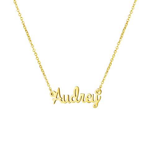 Gift for Women Name Necklace Big Initial Gold Plated Best Friend Jewelry Audrey