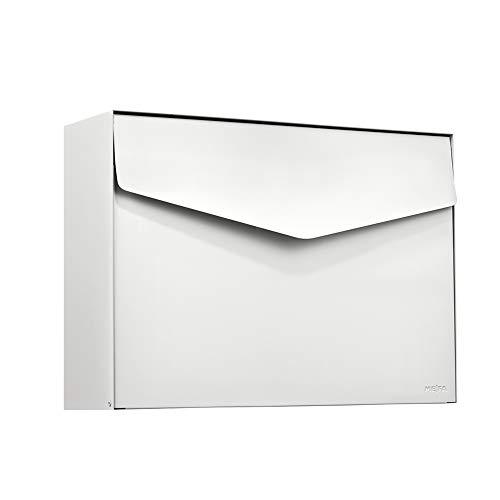 MEFA Briefkasten Letter 112 (Farbe weiß, Postkasten mit Sicherheitsschloss, Brief Design, Größe 312x430x128 mm) 112020DE