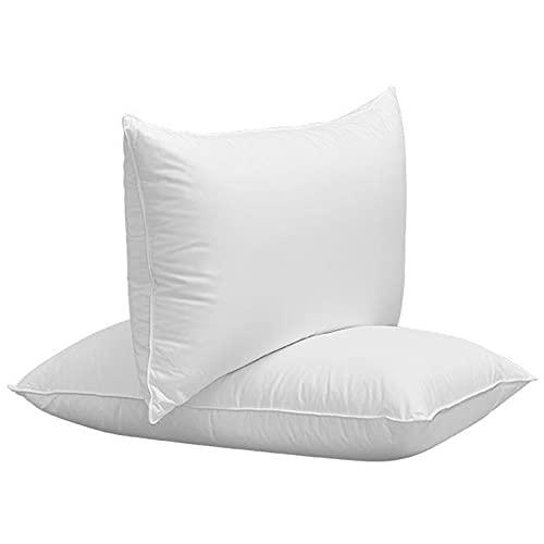 Almohadas de Cama para Dormir, Paquete de 2 Almohada Alternativa de Plumón con Relleno de Fibra de Felpa Suave Premium, Lavable en La Lavadora Los 48x74cm Blanco,Height 14cm/5.5in