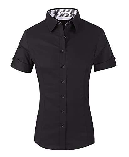 Womens Button Down Shirts Short Sleeve Summer Collared Stretch Basic Simple Work Tops Blouses Black Medium