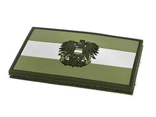 STEINADLER Klettflagge Österreich PVC  Klettflächen Patch als Emblem für Armee, Uniform und Jacke   Flagge mit Österreich-Wappen (oliv-grün)