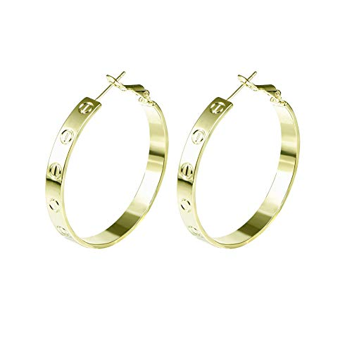 Yumay 9ct Gold Filled Creole Earrings for Women and Girls,European Style(40MM).