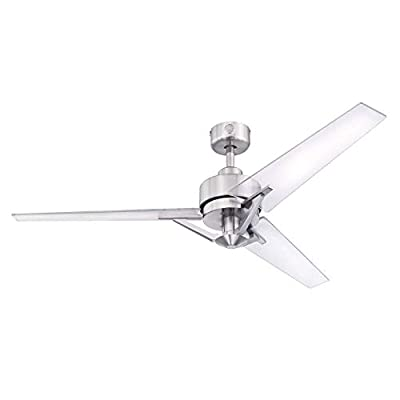 Westinghouse Lighting 7225500 Julien, Modern Industrial Ceiling Fan with Remote Control, 54 Inch, Brushed Nickel Finish