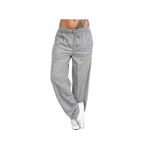Pants Sweatpants Wide Leg High Waist Lace Up Straight Joggers Trousers Pantalon Femme,Gray,XL