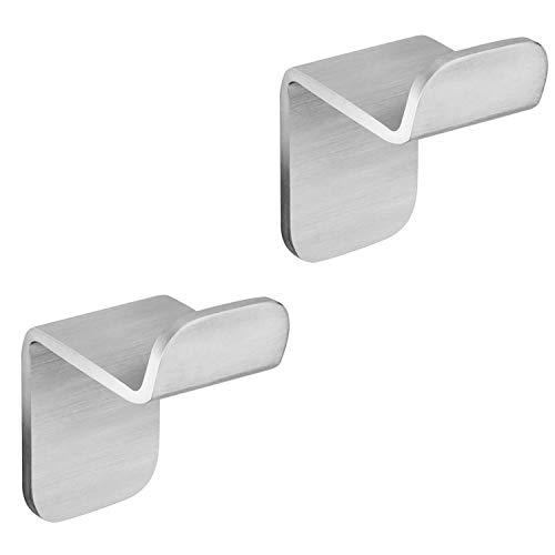 WEISSENSTEIN Set 2 ganci bagno adesivi da parete – Appendini porta asciugamano in acciaio inox argento – 2 ganci 3 x 3,3 x 4,9 cm