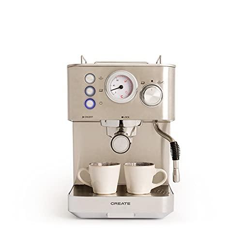 CREATE Cafetera THERA Classic - Cafetera Espress Semiautomática para Espresso y Cappuccinos, Presión 20 Bares, Capacidad 1,25 L, 1100W, Vaporizador Orientable, Acero Inoxidable