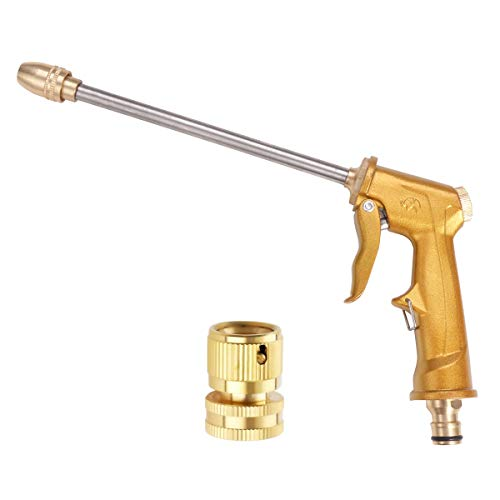 Litorange Metal Garden Water Hose Nozzle Hand Spray Fire Nozzle Car Wash Gun with Brass Connector Adjustable Pattern Pistol Grip Trigger Ideal for Car Washing Plant Lawn Pets Dogs