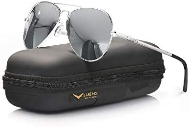 LUENX Women Men Aviator Sunglasses Polarized Mirror Silver Lens Metal Silver Frame with case product image