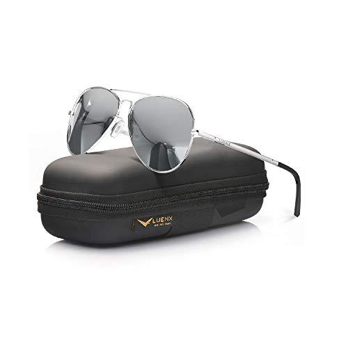 LUENX Piloten-Sonnenbrille für Herren und Damen, polarisiert, UV-Schutz 400, mit Etui, 60 mm, silberfarben