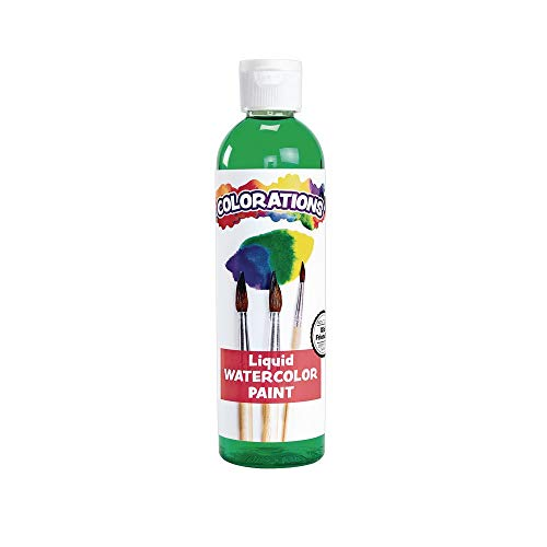 Colorations Liquid Watercolor Paint, 8 fl oz, Green, Non-Toxic, Painting, Kids, Craft, Hobby, Fun, Water Color, Posters, Cool Effects, Versatile, Gift, Model:LWGR