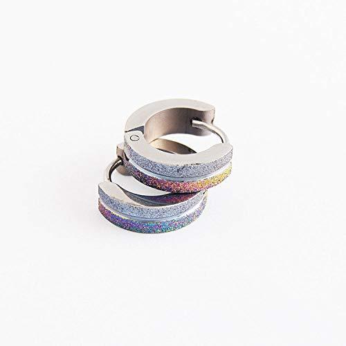 Ohrstecker Ohrring Damen Mode Gefrostete Kleine Creolen Farbe Schwarz Kreis Creolen Schmuck-Silber_Farbe