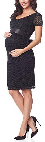 Be Mammy Damen Umstandskleid festlich aus Spitze Kurze Ärmel Maternity Schwangerschaftskleid BE20-162 (Schwarz2, M)