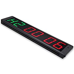 EYOU Programmable 4-inch 6 Digits Gym interval LED Clock (NEW STYPE(4R+2G))