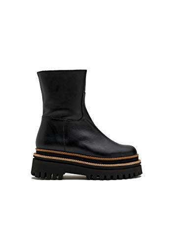 PALOMA BARCELO Damskie buty Alanya i ze skóry, czarne obcas klinowy, czarny - czarny - 35 EU
