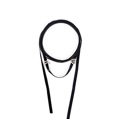 kliy Collar De Mujer Simple Cuerda De Terciopelo De Hilo Negro Americana Amor Bricolaje Cadena Larga Suéter Collar Femenino Largo