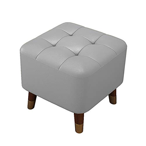 Ottoman Chest Foot Stool with Wood Legs, Square Pouffe Chair, Upholstered Footstool, Modern PU Leather Small Footrest, with Padded Seat,B