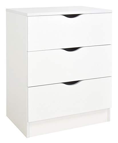 Leomark Commode en bois avec 3 tiroirs - ROMA - blanche meuble pour chambre d'enfant, style scandinave, Meuble de Rangement, Dim : 60 x 42 x 78 cm