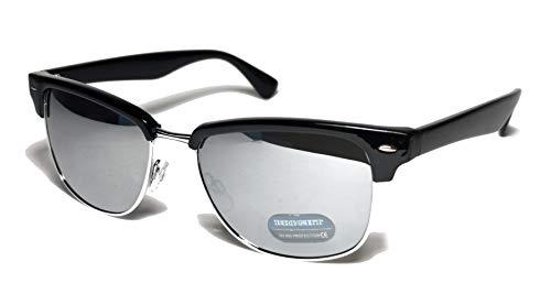 Fiko Clubmaster - Gafas de sol clásicas, polarizadas, media montura con remaches de metal, gafas de sol para hombre y mujer, unisex