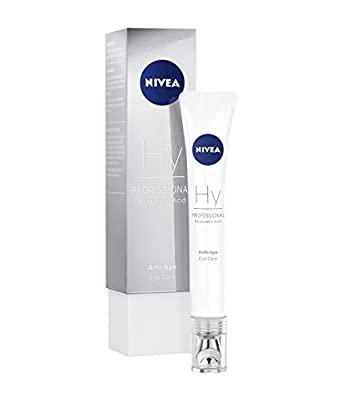 NIVEA PROFESSIONAL Hyaluronic Acid Eye Cream (1 x 15 ml), Effective Hyaluronic Anti-Wrinkle Eye Cream with Applicator, Firming Anti-Ageing Moisturiser for Expression Lines, Crows Feet and Eye Wrinkles from Beiersdorf Ag