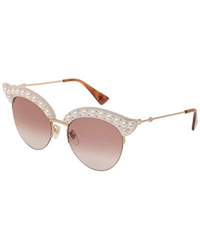 Gucci GG0212S 003 Gafas de sol, Blanco (3/Red), 53 para Mujer