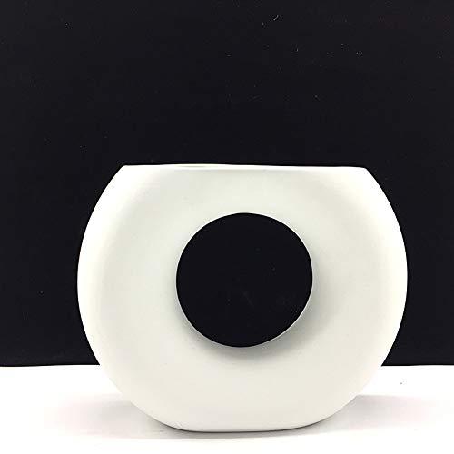Anding白い陶磁器の花瓶マットライトのデザイン独創的なインテリア生花花瓶(LY381白)
