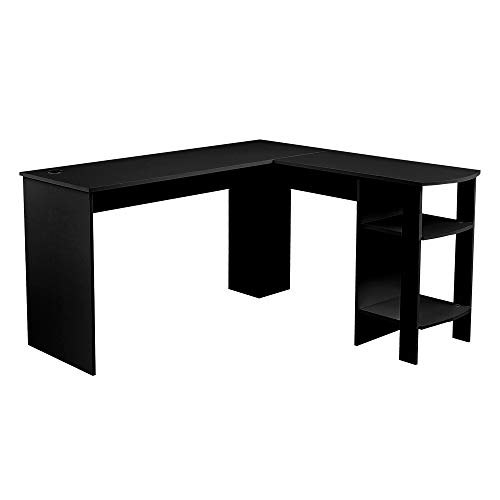 Panana-K Corner Computer Desk, L-Shaped Wood Writing Table Office PC Computer Workstation with 2 Shelves Home Office Black