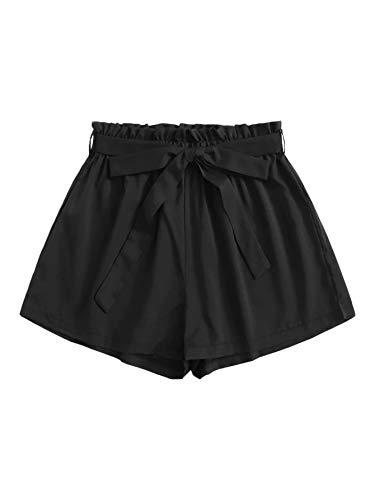 DIDK Damen Locker Shorts Elastischer Bund Casual Sommerhose Sommer Short Kurz Hose mit Schleife Gürtel Schwarz#2 M