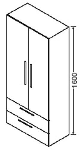 Burgbad Hochschrank, 2 Türen, 2 Einlegeböden, 2 Schubladen, 1 Fester Boden, HSAX080