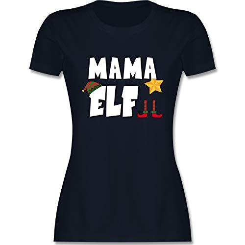 Weihnachten & Silvester - Partnerlook Elf Mama - XL - Navy Blau - Shirt Weihnachten Partnerlook - L191 - Tailliertes Tshirt für Damen und Frauen T-Shirt
