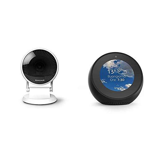 Echo Spot nero + Honeywell, Telecamera di Sicurezza Wi-Fi C2, Visione Grandangolare 145° e Notturna, HD 1080P, riconoscimento del pianto di un bambino