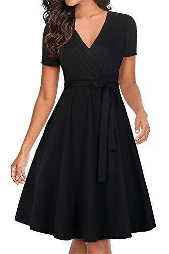 Manydress Women's Short Sleeve V Neckline Fit and Flare Vintage Swing Midi Cocktail Party Wrap Dress with Pocket MY065 (Black, M)