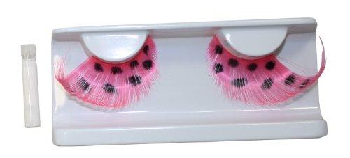 Eulenspiegel 000526  künstliche Wimpern,  Pink/Schwarz, gepunktet