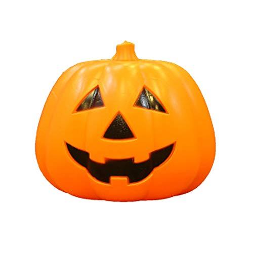 XIANLIAN Velas sin Llama de Halloween, Lámpara de Calabaza, Control de Voz de Linterna Luminosa, Decoraciones de Calabaza de Halloween Naranja, Calabaza iluminada