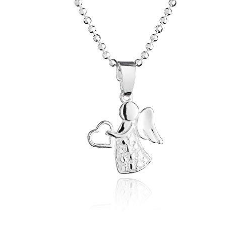 fish Mädchen Jungen Kette Silber 925 Schutzengel-Anhänger Glücksbringer Längen-verstellbar Geschenkverpackung Baby Geschenk