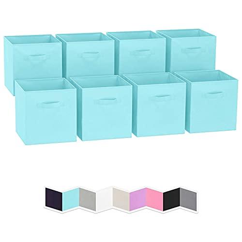 HDHUIXS La Caja de Almacenamiento es una Canasta Cuadrada de Tela Plegable con Doble Asas.Caja de Almacenamiento Caja de Almacenamiento de gabinete de Moda Multifuncional Plegable (Azul) 8