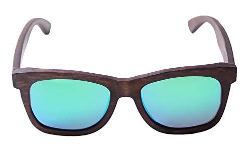 LY4U Gafas de sol de bambú para hombres y mujeres Gafas vintage Lentes flotantes polarizadas Gafas de sol de madera con caja de bambú