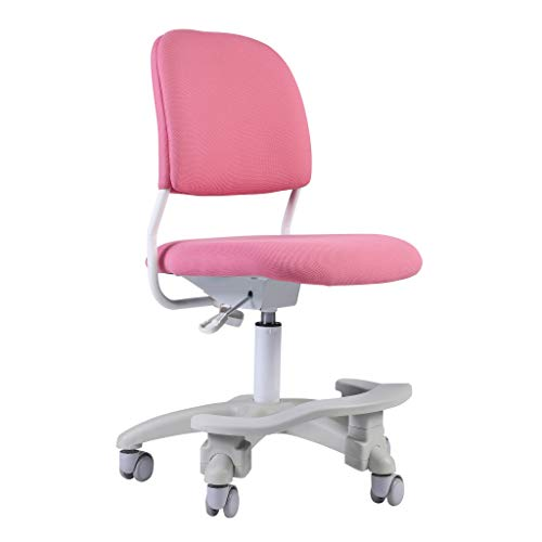 Ergonomic Kids Desk Chair, Girl's Child's Children Student Study Office Computer Chair, Adjustable Height and Seat Depth, Detachable Footrest and Lumbar Support (Pink, W/Chair Slipcovers)