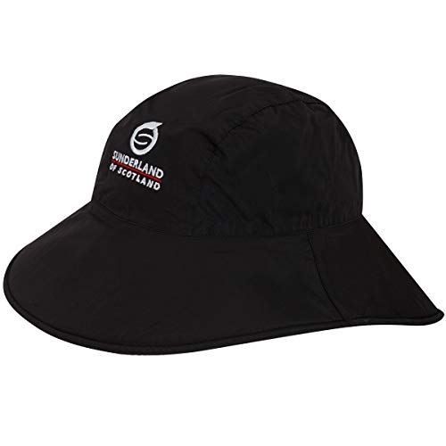 Sunderland Men's and Ladies' Ultra Lightweight Wide Brim Waterproof Golf Hat Black L/XL