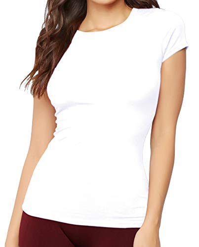 MANGDIUP Women's Classic-Slim Fit Short-Sleeve Crewneck T-Shirt (White. M