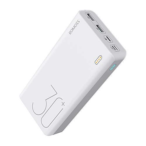 Romoss Power Bank Externer Akku 30000mAh, 18W PD USB C Schnelles Aufladen Tragbares Ladegerät mit 3 Ausgängen und 3 Eingängen Kompatibel mit iPhone, iPad, Mac,Samsung, Huawei und mehr